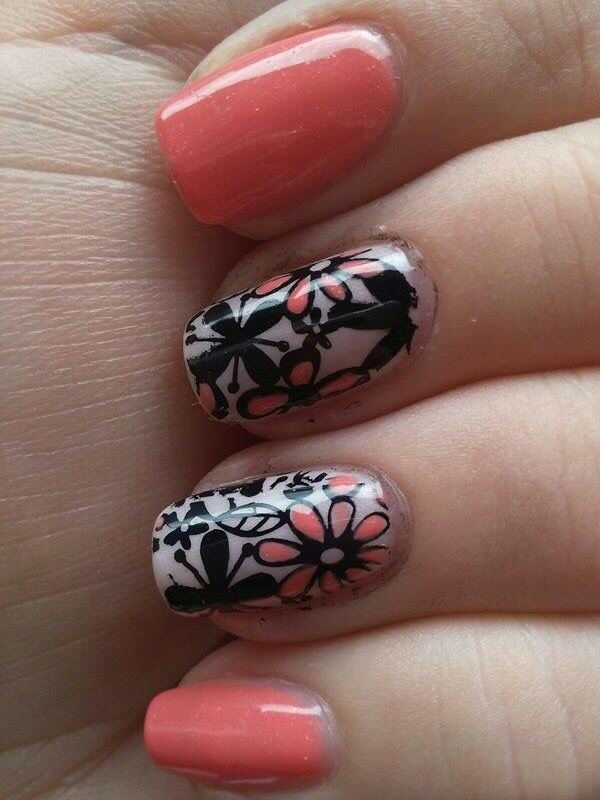 Jarní nehty spring nails art stamping
