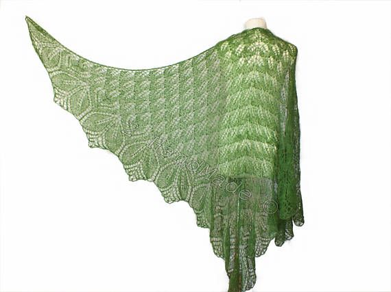 Lace Knit Triangular Green Shawl Wrap Mohair Wool Fall Boho Handmade Wedding Scarf Fashion Woman Lady Collar Casual Infinite  Beautiful lace knitted triangular shawl in mohair yarn The shawl is made of very soft mohair (80%) and polyamide (20%). Measurements: Lenht 98 inch (250 cm) Height 55 inch (140 cm)  Here you can see other my hand knitted shawls  http://www.etsy.com/shop/2HandMade?section_id=11342729  Or all my items  http://www.etsy.com/shop/...