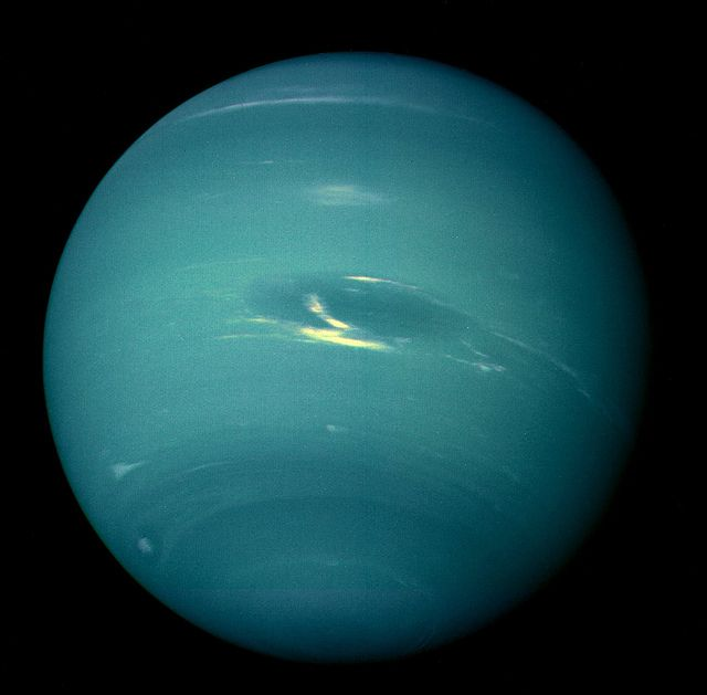 This picture of Neptune was produced from the last whole planet images taken through the green and orange filters on the Voyager 2 narrow angle camera. The images were taken at a range of 4.4 million miles from the planet, 4 days and 20 hours before closest approach.