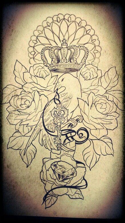 Особенная ворона. Корона. Ворон. Ключь. Бриллиант. Розы.  Alex Bërd!