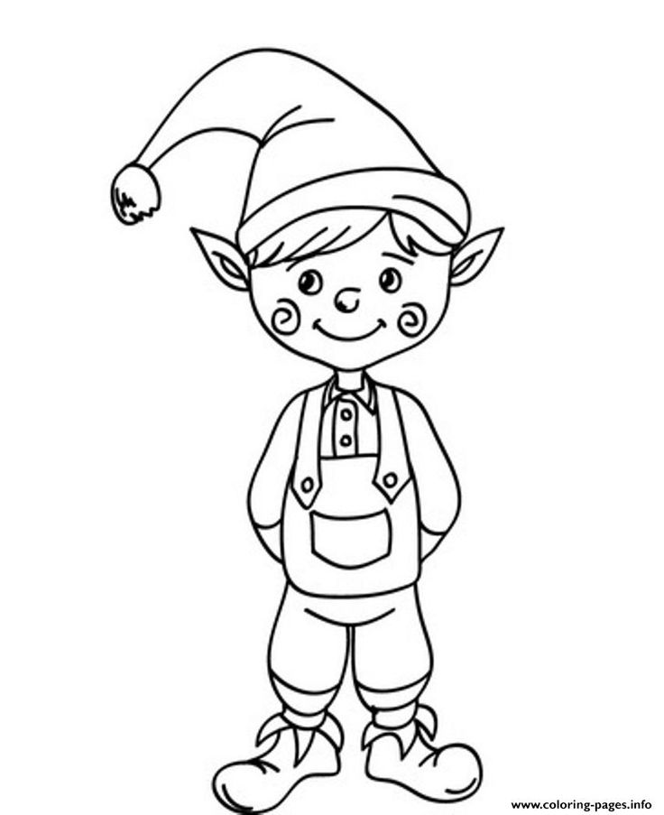 print cute christmas elf saaf5 coloring pages - Coloring Pages Elves