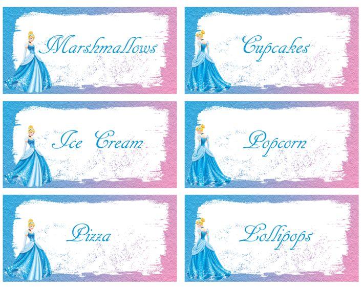 FREE Cinderella Food Labels Birthday party saved