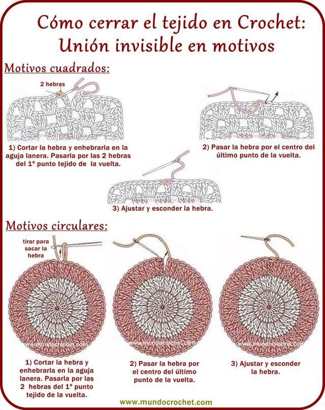 Como cerrar el tejido y esconder la hebra en crochet o ganchillo