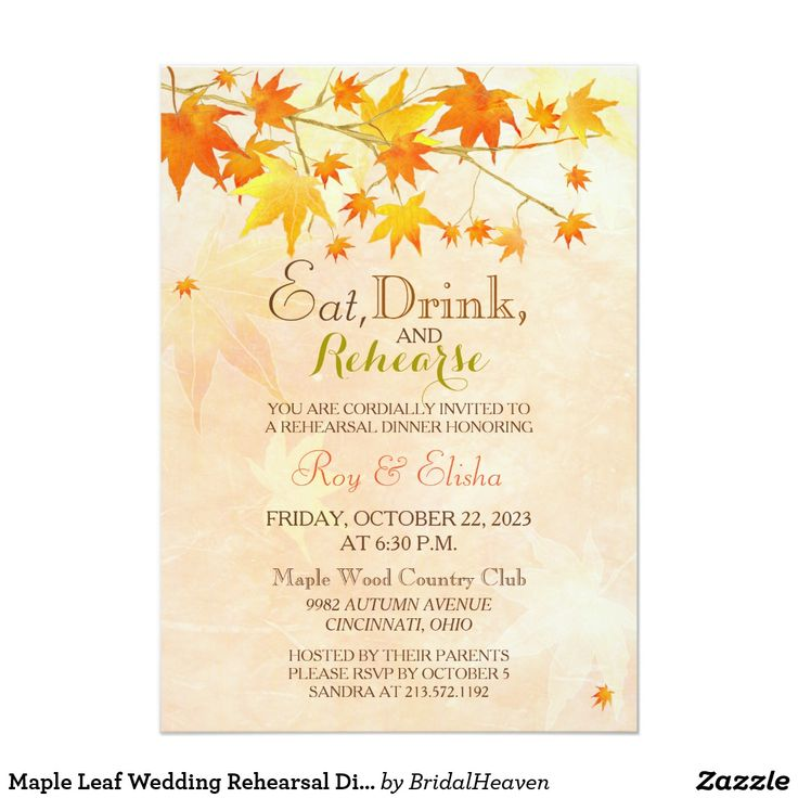 Maple Leaf Wedding Rehearsal Dinner Card Lovely autumn maple leaves and leaf silhouettes in beautiful fall colors (red, orange & gold) + lightly textured background in shades of salmon illustrated on custom Wedding Rehearsal Dinner Invitations. Super classy & elegant invites perfect for your AUTUMN COUNTRY WEDDING | FALL RURAL WEDDING or CASUAL OUTDOOR WEDDING! All the sample text can be fully personalized with your own wording. Feel free to change the colors, sizes & typefaces of the text…