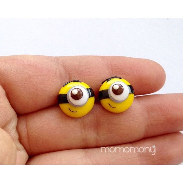 Super Cute Minion Face Earrings (9.31 CAD) ❤ liked on Polyvore featuring jewelry, earrings, silver tone earrings, metal earrings and metal jewelry