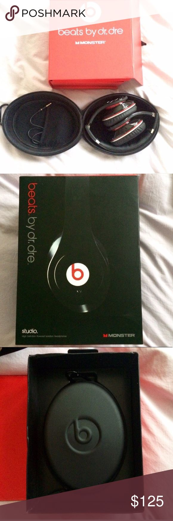 ON SALE 🎧 BEATS Dr Dre Noise Canceling Headphones 🎧 NEW Beats by Dr Dre Studio noise cancellation headphones, in original box with all accessories including zipper case, two wired cord (red, black), adapters, & cleaning cloth. Works with iPhone, black with red accent, foldable for compact storage, scratch resistant gloss finished. Got as a gift. Opened but have another so never used. Great for in plane use! All items in photos included. Small rip on box. NOT REFURBISHED. An original…