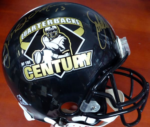 Quarterbacks of the Century Johnny Unitas, Joe Montana, Dan Marino & John Elway Autographed Full Size Authentic Helmet Beckett BAS #A02258