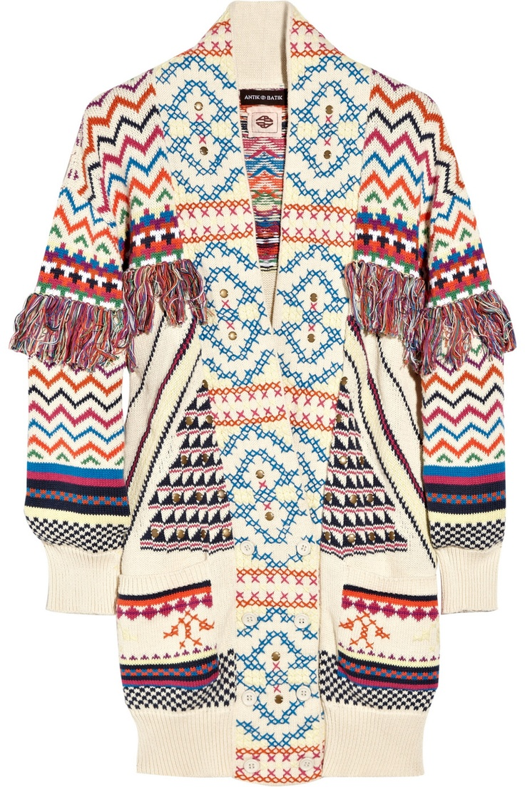 Antik BatikBatik Zanon, Fashion Style, Ethnic Prints, Ethnic Winter Style, Antique Batik, Cardi Antik, Knits Cotton, Cotton Cardigans, Embellishments Knits