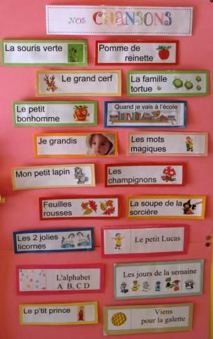 chansons...great idea to keep a visual bank of songs/comptines that we have learned.