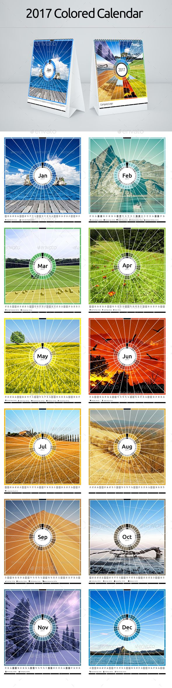 Colored Scenery Calendar for Desk and Wall Template Vector EPS, AI Illustrator