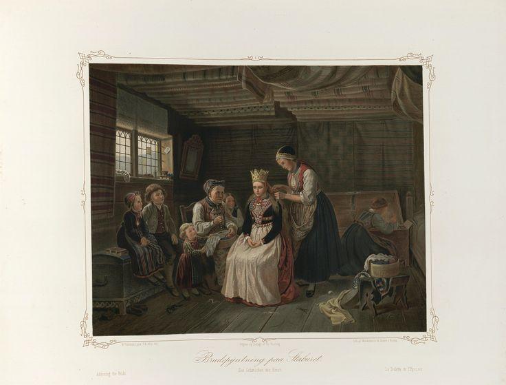 Norske Folkelivsbilleder 13 - Brudepyntning paa Staburet (Adolph Tidemand). jpg (4432×3372)