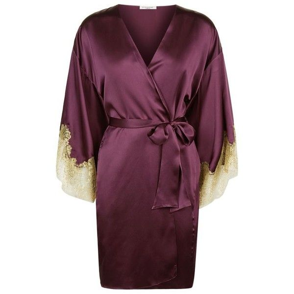 Gilda & Pearl Gina Short Satin Kimono (€675) ❤ liked on Polyvore featuring intimates, robes, bath robes, satin kimono, short bath robe, satin robe and kimono robe