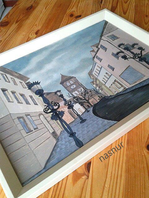 ahşap boyama tepsi el boyaması handpaint tray street lamp handmade