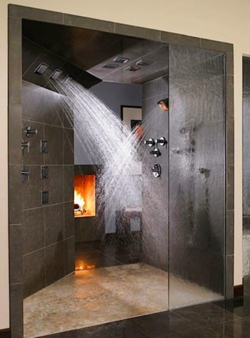 Turn your bathroom into a luxurious spa with this splendid shower and burning fireplace.  Bathroom decor   Home Decor Home Design Home Decorating Home Party Ideas Furniture  Decoration Ideas D.I.Y Do It Yourself