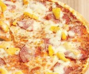 ... pizza, packed with pepperonis, pineapple, ham, cheese and tomato sauce
