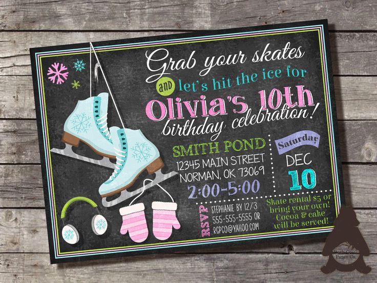 Invitación de pizarra patinaje artístico sobre hielo, patinaje pista partido, partido, invitación imprimible para fiesta de cumpleaños de las niñas de patinaje de hielo de RockCreekPaperCo en Etsy https://www.etsy.com/mx/listing/462674676/invitacion-de-pizarra-patinaje-artistico