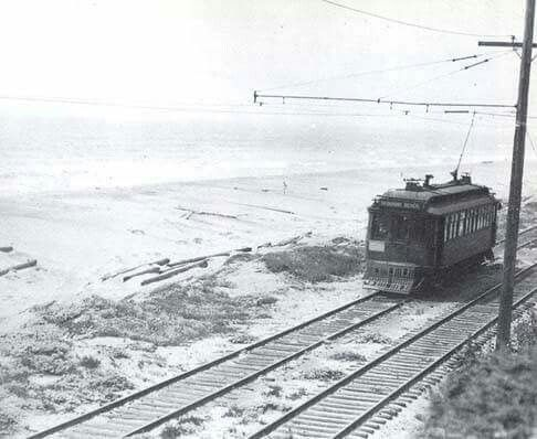 This photo was taken somewhere south of Playa Del Rey. The Redondo via Playa del Rey line ran along the beach from Playa Del Rey to the north edge of Hermosa Beach, where it moved a block or so inland.