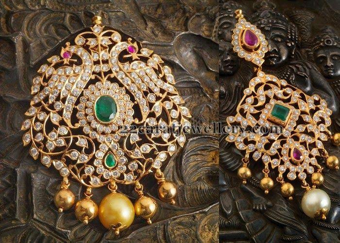 Jewellery Designs: Diamond Pendants By Navaratn Jewellers