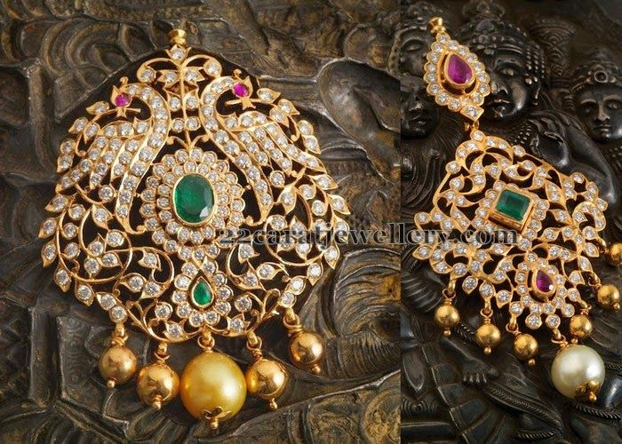 Jewellery Designs: Diamond Pendants By Navaratn Jewellers