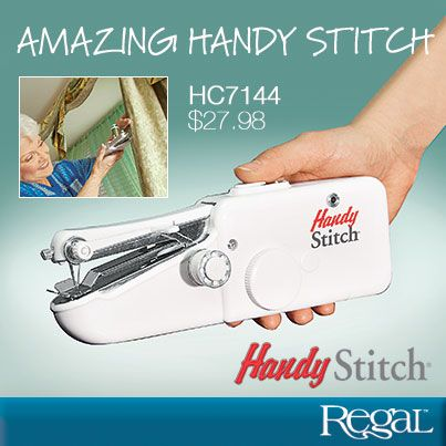 """Amazing Handy Stitch From Regal Gifts - Portable and cordless, it has the precision of a small machine yet the power of larger, more expensive units. Ideal for quick repairs and even jobs that conventional machines can't handle, like sewing curtains while on the rod. Includes 4 bobbins with 4 different coloured threads, 3 needles, spindle and needle threader. Uses 4 AA batteries (not incl.) or AC adapter. Lightweight plastic. (8-1/4""""L x 2-3/4""""H) Product Number - HC7144"""