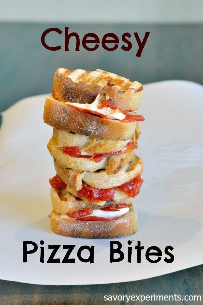 Cheesy Pizza Sandwiches are two-bite pizza sandwiches that can be served as appetizers, snacks or an entree.