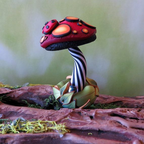 Toadstool for your House Plant or Fairy Garden Red by Claybykim