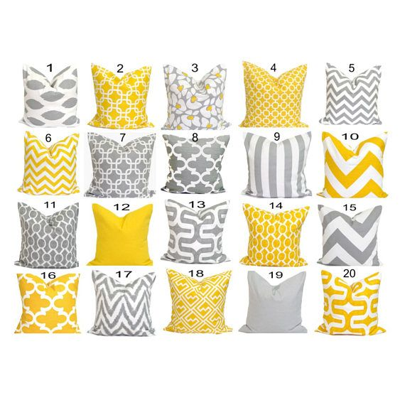 PILOWS.Gray Yellow Pillows.ALL SIZES.Pillow Covers.Decorative