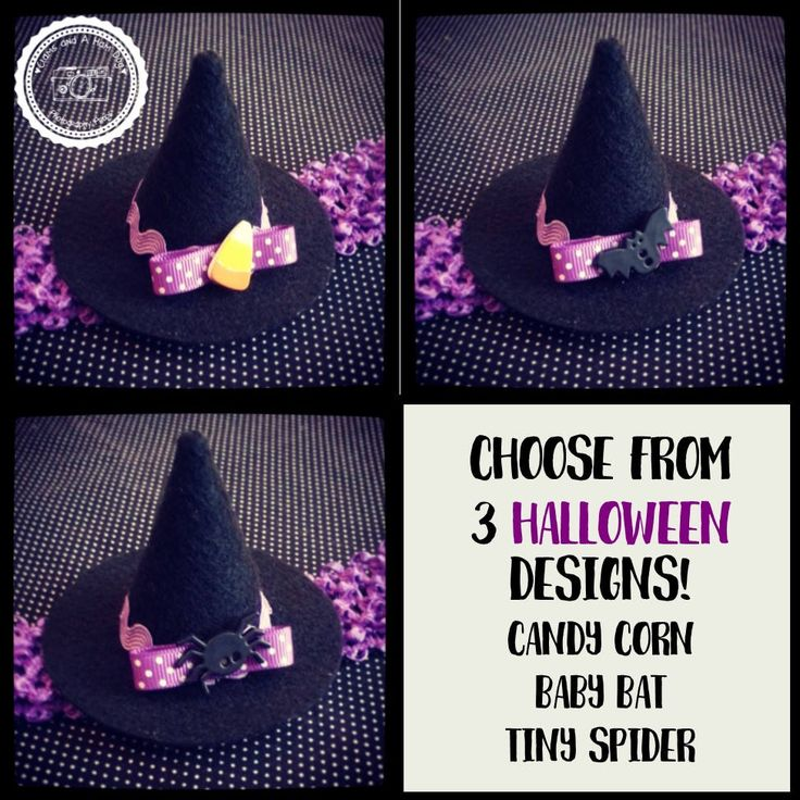 Mini felt witch hat on purple elastic headband- Witch Hat- Baby Girl Purple Halloween Costume- Babys First Halloween- Candy Corn Bat Spider by ClamsAndaHamDog on Etsy