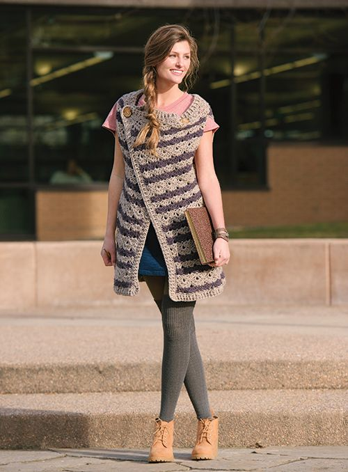 You have to see the stitch pattern in this crochet vest.