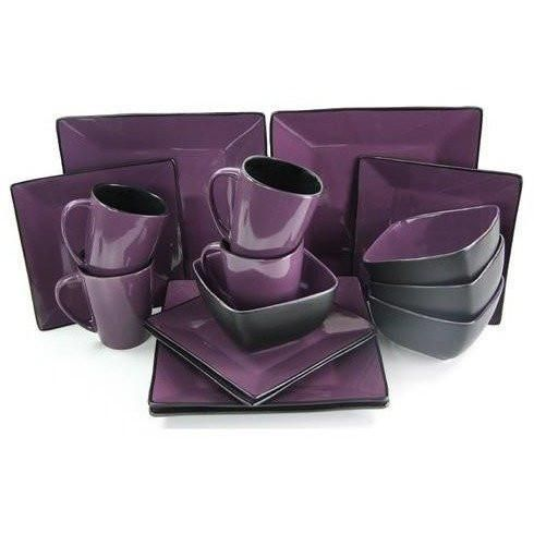 Elama Mulberry Loft 16 Piece Modern Premium Stoneware Dinnerware Set with Complete Settings for 4