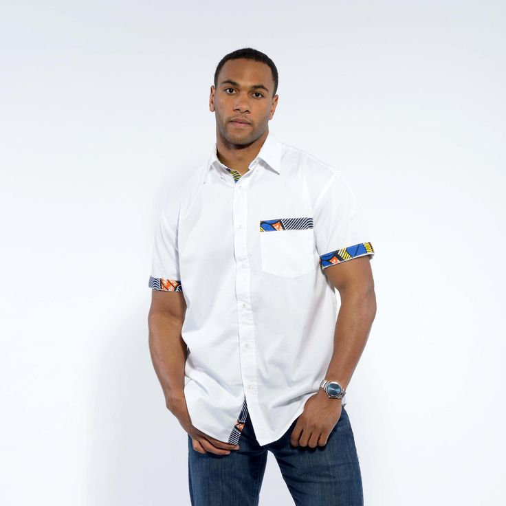 Dami White Button-Up African Print Trim Shirt (Blue/Yellow/Orange)