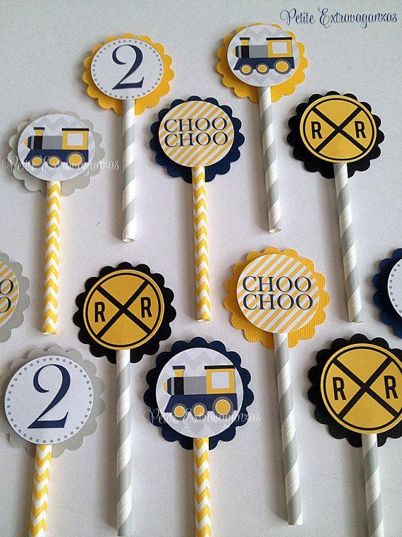 Choo Choo Train Cupcake Toppers Set of 12 by PetiteExtravaganzas