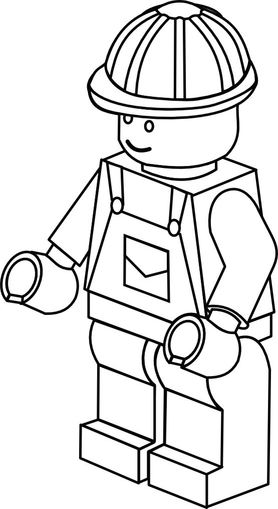 Lego Town Worker Black White Line Art Coloring Book Colouring.