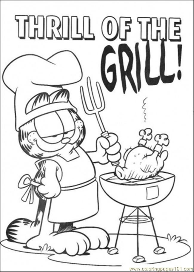 Garfield grilling free printable coloring page thrill of the grill cartoons garfield