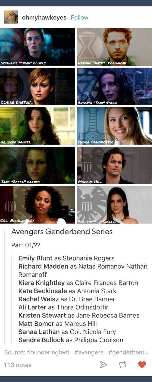 Genderbend; genderbent; genderswap; rule 63; Avengers; marvel