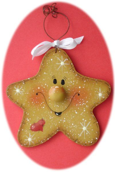 *TOLE -TALLY CUTE! ~ Star Christmas Ornament (Hand Painted Wood)