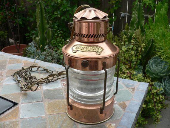 Vintage Rare Ankerlicht Copper Nautical Lamp Copper