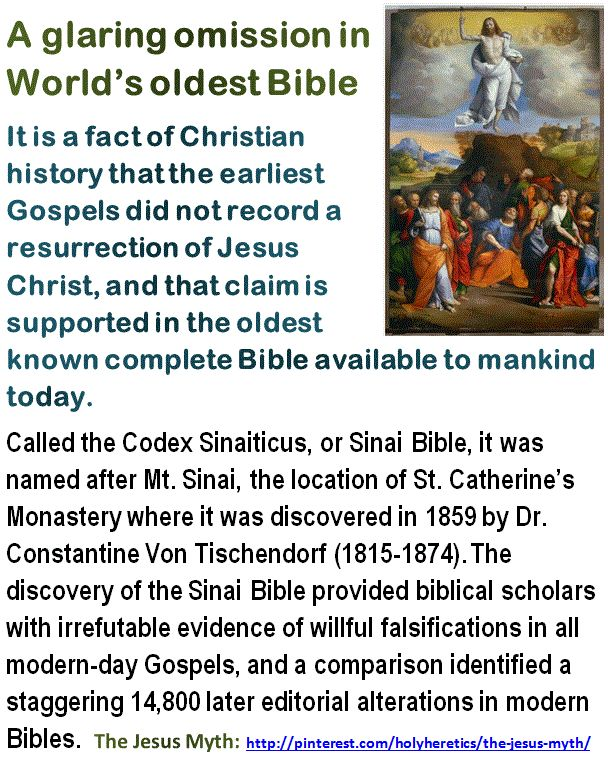 A glaring omission in World's oldest Bible:- the resurrection of Jesus Christ.  Click image!