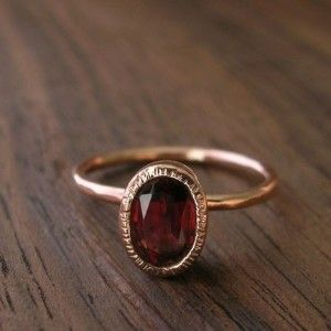 Rose Gold And Red Garnet Stack Ring By Silverwoods On Etsy Review