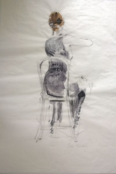 Drawing of sitting woman by Michał Zaborowski, 100x70cm.