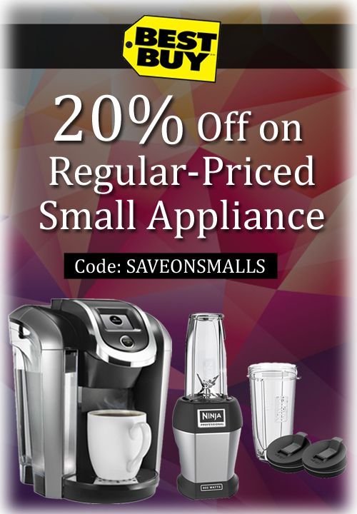 Bestbuy is offering upto 20% discount on Regular-Priced Small Appliance. For more deals visit: http://www.couponcutcode.com/stores/best-buy/