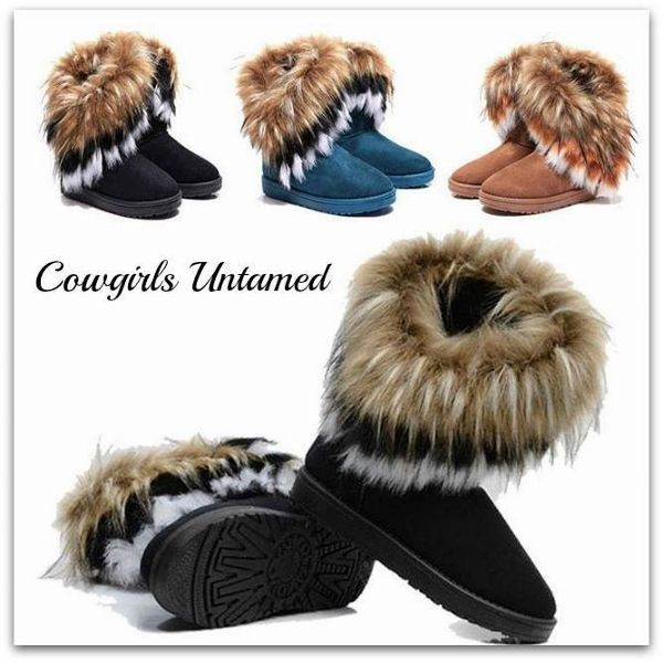 TOP SELLING COWGIRL GYPSY WINTER BOOTS! Fox N Rabbit Fur n Suede Leather Mid-Calf Western Boots  #fur #boots #fauxfur #suede #winterboots #boutique #winter #fashion #shoes #style #wholesale #cowgirlsuntamed