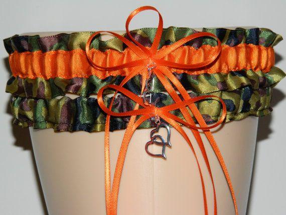 Wedding Garter Set Bridal SetCamo Orange Camouflage Keepsake Prom Weddings Garters