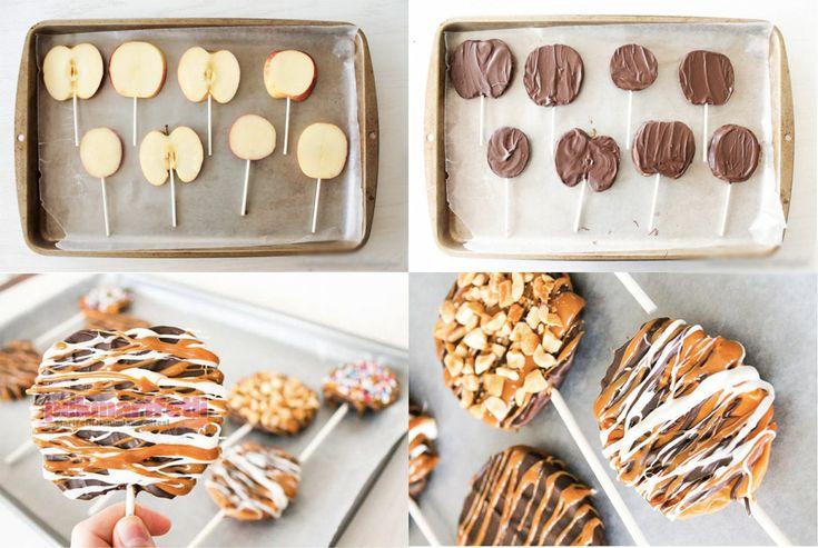Malzemeler Çikolata Elma Karamel Beyaz çikolata Lolipop çubukları Şekerlemeler Çikolatalı elma cipsi nasıl yapılır? Elmaları ince ince dilimleyelim. Daha s.. Çikolatalı elma cipsi yapımı..