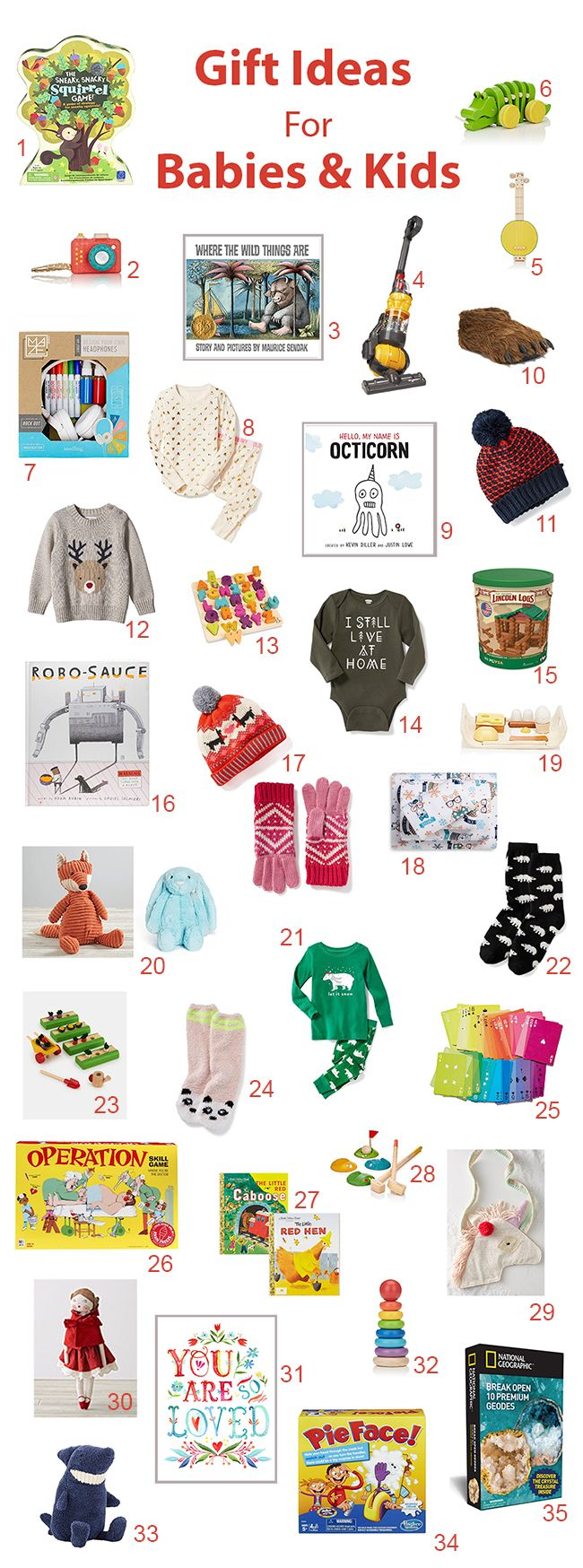Gift guide for kids and babies full of cute ideas and games and toys and books and items of clothing (many are super discounted!).