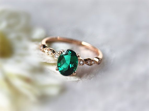 6x8mm Oval Emerald Ring Engagement Ring Gemstone by InOurStar