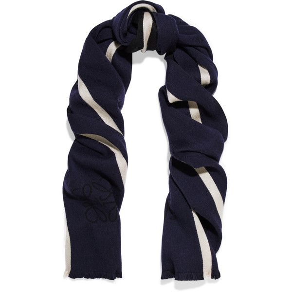 Loewe Anagram reversible striped wool and silk-blend scarf (455 NZD) ❤ liked on Polyvore featuring accessories, scarves, navy, navy scarves, navy blue shawl, wool scarves, striped scarves and navy wrap shawl