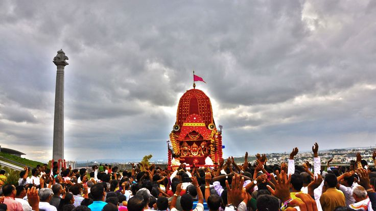 Devatas from the sky are witnessing the Ratha yatra and showering their blessings on the devotees @ ISKCON Temple, Vaikunta Hill