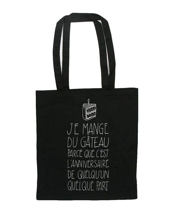 Tote bag Noir Citation drôle excuse pour manger par BambouchicParis