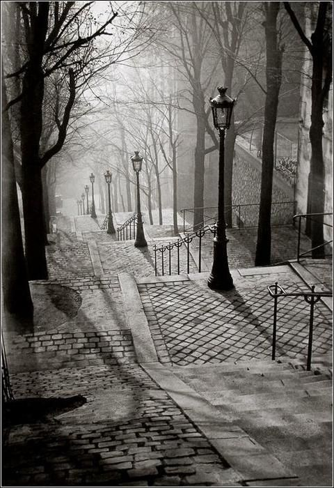 Brassai, Les Escaliers de Montmartre, Paris ~ Even looking at this photo on my phone, I feel like I could step into the mist.